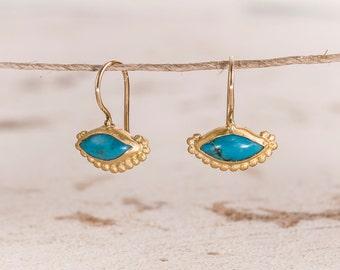 22k Gold Turquoise Lever-back Earrings, Gold dangle earrings, Solid gold earrings, Turquoise jewelry earrings, 22k turquoise gem earrings