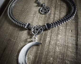 Silver chain Choker necklace Big Moon 666 666