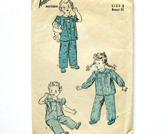 Child's Pajama 1940s Vintage Sewing Pattern / Advance 3256 / Toddler Sleepwear / Nap Time / Size 3