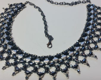 Black and Silver Collar Necklace, Dressy Necklace, Gothic Necklace,