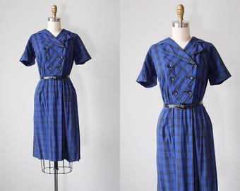 1950s Dress - Vintage 50s Dress - Bold Collar Sapphire Blue Black Plaid Cotton Shirtwaist Dress M - Stepping Out Dress