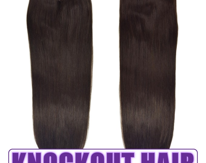 """Fits like a Halo Hair Extensions 20"""" Dark Brown (#2) - Human No Clip In Flip In Couture by Knockout Hair"""