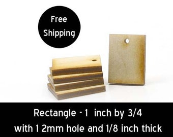 Rectangle - 1 inch by 3/4 inch with 1 2mm hole and 1/8 inch thick unfinished wood (RTWH19)