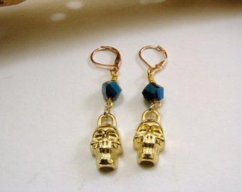 Crystal and Brass Skull Earrings, Skull Earrings, Dangle Earrings, Blue Crystal Earrings