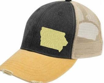 Iowa  Hat - Distressed Snapback Trucker Hat - off-center state pride hat - Pick your colors