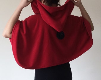Red Hooded Cape, Fleece Cozy Capelet, Hooded Short Cape, Pompom Hoodie, Red Riding Hood, Hooded Capelet, Winter Accessory, Women Outwear