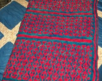 Large Crochet Throw Afghan Custom Dye 100% Wool yarn  Mosaic Madness Lobstah in the Sea  Multi deep red Teal Blue Green