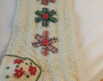 """Hand Knit  Christmas Stocking Off white wool w Ribbons & Buttons 8 X 28"""" NOS"""