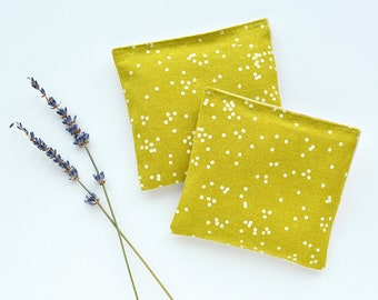 Organic Lavender Sachets in Arroyo Confetti in Pickle Green and Natural Linen Set of 2 Lavender Scented Pillows Natural Home