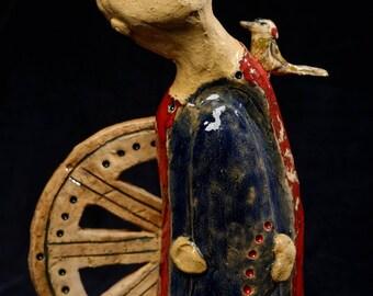 ceramic sculpture home decor  Bird- fancier  poultry-farmer