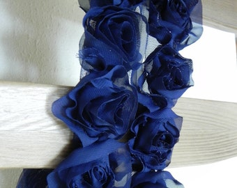Chiffon and tulle rose trim, dark blue,10 roses