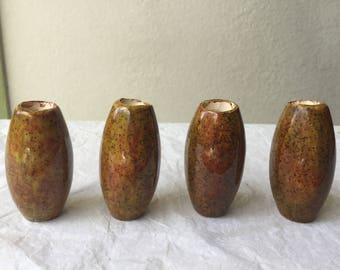 1970's vintage ceramic brown, clay with black spots set of 4 macrame beads barrel shaped