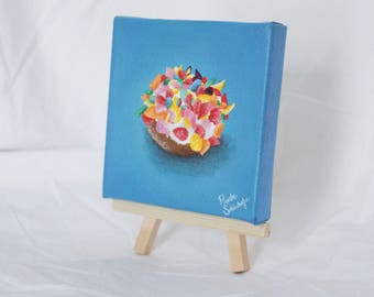 Fruity Pebbles Donut Mini Acrylic Painting 4x4 inches