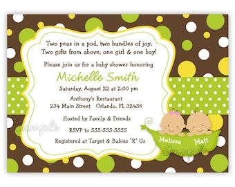Two Sweet Peas in a pod Style 2 Baby Shower Invitation Twins or Triplets (You Print)