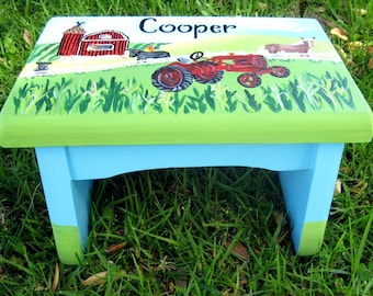 A personalized and customized farmer's step stool complete with barn, tractor and the child's horse,bench,personalized,stepstool,kids stool