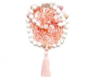 Handmade Knotted Mala, cherry quartz mala beads, rose quartz mala, gemstones mala, meditation necklace, 108 meditation, mala prayer beads