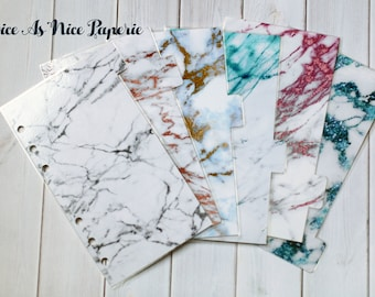 Marble 6 Tab Planner Divider Set in Personal Size