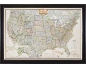 Executive United States Push Pin Travel Map, Brazilian Walnut Frame, 24x36-Inch (0062436MAP01A)