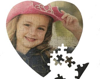 Personalised Cardboard Heart Jigsaw Puzzle, Educational Gift, Photo Gift, Stocking Filler, Child's Party Gift, Collage Jigsaw
