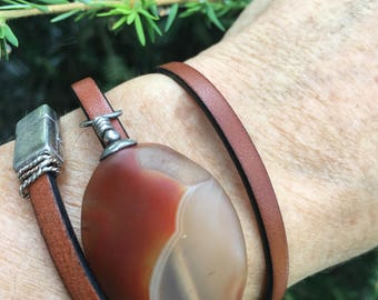 Leather and Agate Wrap Bracelet