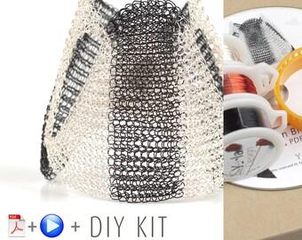Shogun,Cuff Bracelet Kit, Bracelet Pattern Kit, Wire Crochet Pattern, Crochet Jewelry Kit, Jewelry Making Kit, Crochet Bracelet kit,GIFT KIT