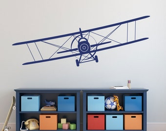 SALE Biplane Vinyl Decal Airplane Wall Decal Graphics Choose Color Children Boys Bedroom Decor Gift up to 110 inches wide
