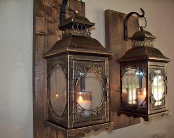 Set of 2 lantern pair wall decor, bronze wall sconces, housewarming gift, bathroom decor, wrought iron hook, rustic wood boards
