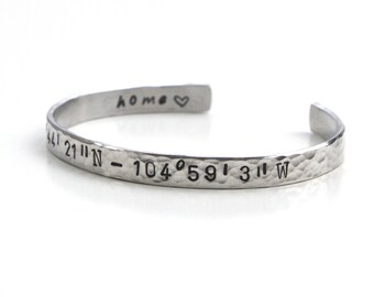 Custom Coordinates, Coordinate Jewelry, Latitude Longitude Bracelet, Coordinate Bracelet, Personalized Gifts Jewelry,Travel Jewelry