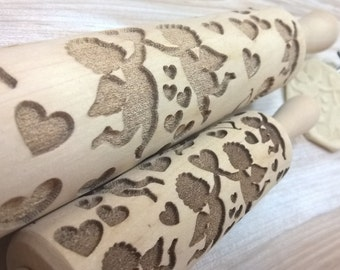 Wooden Rolling Pin ANGELS CUPIDS LOVE Laser Engraved Pattern Embossing