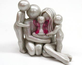 Bespoke Memorial Statue for family of 5 - Parents with earthside and heavenside children - clay sculpture - heartfelt keepsake made to order