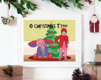 O Christmas Tree, Inspirational Holiday wall art. Printed from whimsical drawing of Child and Pink Elephant at Christmas Tree.