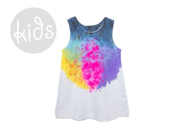 "Spectrum Rainbow Tank Dress - Original ""Splash Dyed"" Scoop Neck Sleeveless Play Tunic Tee Dress in White - Girls Size Toddler & Youth"