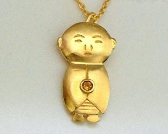 Topaz Jizo Pendant, Gold Buddha Pendant, Ruby Jizo Necklace, Gold Buddha Jewelry, Buddhist Jewelry, Meditation Jewelry, Buddha Accessories