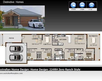 224m2| 4 Bed 2 Bath | narrow lot | study nook  | 4 Bedroom australian floor plans | house designs australia | 4 bed + 2 bath + 2 car plan