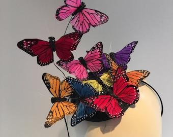 Butterfly Fascinator- Monarch Fascinator- Butterfly Headdress- Butterfly hat- Derby fascinator -Kentucky Derby- Derby Hat- Mad Hatter Hat