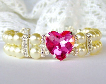 Valentine gift / Pink heart rhinestone / Double strand pearl bracelet / gift for her / Swarovski crystal / Mother's Day gift