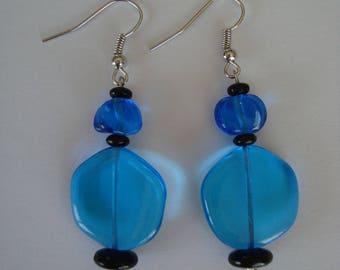 Fancy blue and black glass bead earrings