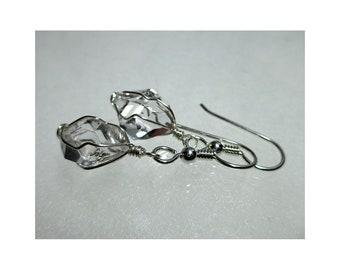 """ww1291 - 1/2"""" Wirewrap HERKIMER DIAMOND EARRINGS - Argentium Sterling Silver"""