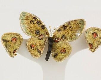 Butterfly Brooch / Butterfly clip earrings Gold and rust tones German made  Butterfly earrings Butterfly brooch Butterfly pendant Germany