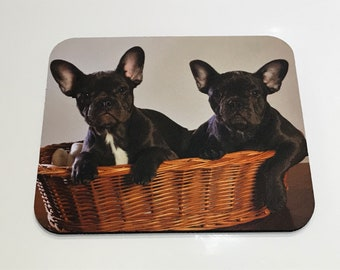 French Bulldog Puppies Computer Mousepad for Office Home Desk