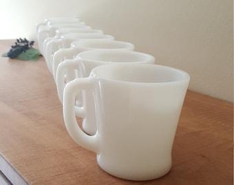 Fire King Mugs by Anchor Hocking Set of 8 White Glass Mugs