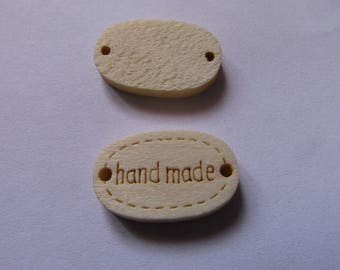"""4 wooden connectors 12mmx19mm marked """"hand made"""""""