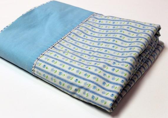 Retro Blue Green Floral FULL Flat Bed Sheet