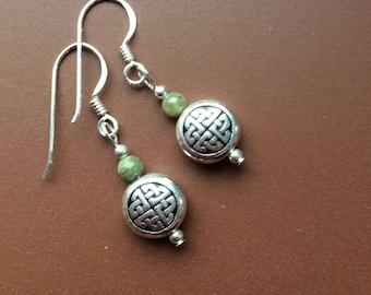 Connemara marble Celtic earrings. Sterling silver wires. Irish jewellery gift