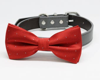 Red Dog Bow Tie collar, Handmade Pet Wedding accessories, Puppy Love, dog collar