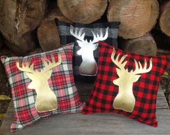 Holiday Pillow, Deer Head Pillow, Woodland Decor, Gifts for the Home, Home Decor Gifts, Rustic Home Decor, Cabin Decor, Couch Pillows
