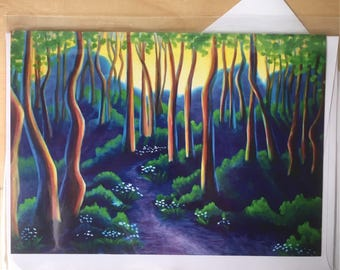 The Path I Might Have Taken - forest path blank art greeting card