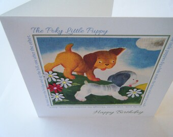 Birthday Card - The Poky Little Puppy repurposed Little Golden Book Greeting Card
