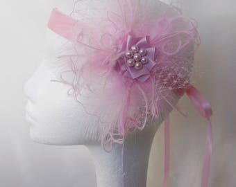 Pale Pink Flapper Band Blush Baby Candy Pinks Veil Feather Vintage 1920 Bridal Ribbon Tie Head Band Roaring 20's Great Gatsby Made to Order