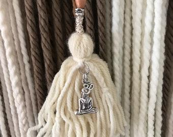 Handmade Boho Yarn Wall Hanging with Tassels / Tapestry / Yoga / Neutrals / Om
